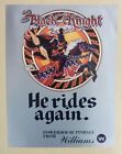 Original Williams Black Knight 2000 Pinball Game Advertising Flyer