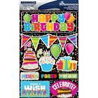 Scrapbooking Crafts Stickers 3D Happy Birthday Title Banner Cake Cupcake Party