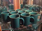 Two Eddie Bauer Home CIMARRON Coffee Cup Mugs Green W/ Terra Cotta Rim sold by 2