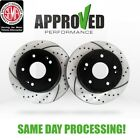 Front Brake Rotor Kit Black Powder Coated Drilled and Slotted Brake Rotors