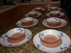 41 VHTF Ucagco Japan Laurentian Dinnerware Set Rust/Blue Leaf Design