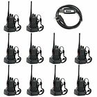 10 Pack Walkie Talkie 2 Two Way Radio Handheld Long Range Marine Police Frs GMRS