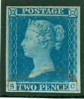 SG 14 1841 2d Blue plate 4 lettered SC 4 large margins cancelled solely by