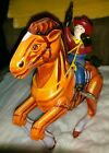 0829-VINTAGE TIN TOY..MECHANICAL COWBOY ON A HORSE ...WIND UP