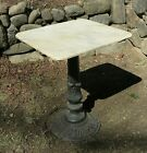 Vintage Bistro Table Marble Top Cast Iron Base Table