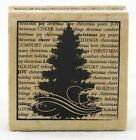 Christmas Tree Wood Mounted Rubber Stamp Hot Fudge Studios NEW holiday gift tag