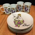 Fitz and Floyd Fat Is Beautiful. 4 Colorful Fun Plates With Mugs (L)