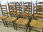Set 8 Vintage Hitchcock Stenciled Highback Rush Seat Ladderback Dining Chairs