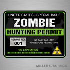 Zombie Hunting Permit Decal Bumper Sticker Military black 3 x 4