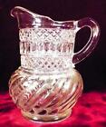 Swirl  Diamonds With Ovals Creamer Early American Pattern Glass Cream Pitcher