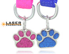 LASER Glitter Paw Pet ID Tag Custom Engraved Dog Tag Cat Tag Personalized