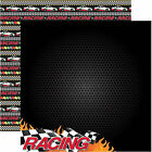 Reminisce RACING II Dbl Sided 2pc Scrapbooking Papers FLAG FLAMES
