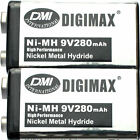 2 New Rechargeable 9V 280mAh NiMH Battery for paintball guns by DMI Intl-Digimax