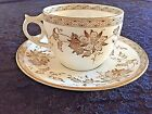 S Powell Bishop Stonier Itsumo White Brown Floral Cup Saucer England c1885