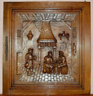 French Antique Middle Ages Hand Carved Oak Wood Door Panel - Tavern 19th.c