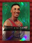 2012 13 LEAF METAL SCOTTIE PIPPEN FACES OF THE GAME GREEN AUTO #'D 08 10