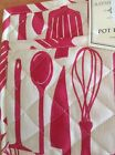 RAYMOND WAITES  POT HOLDER (1) CREAM RED CUTLERY  9 1/2 X 9 1/2 100% COTTON  NWT