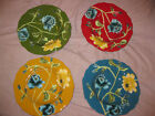 April Cornell Certified Int Field Flowers Soup Bowls Set of 4 Red Green Blue Yel