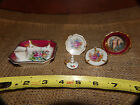 VNTG Limoges France Miniature Plate Candlestick Ashtray Virgin Mary Roses Floral