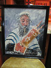 Rare 1989 Morris Katz Signed Rabbi and Torah Oil Painting