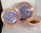 Lustreware Japan Snack Plate Cup and Saucer Set of 14 Blue Peach Lusterware