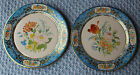 Vintage Pair Daher Decorated Ware Tin Plates Holland Vibrant Floral 8