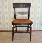 Antique Folk Art Stencil Painted Bent-Wood Hitchcock Orig. Rush Seat Side Chair