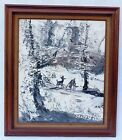 WINTER ICE SNOW LANDSCAPE WITH DEER KNIFE OIL PAINTING SIGNED MORRIS KATZ 1985