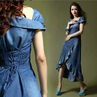 Fashion Womens Vintage Short Sleeve Slim Fit Swallow Tail Jean Casual Dress C23