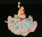 Antique German Porcelain Dresden Lace Ballerina Dancer Lady Figurine Blue