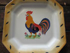 VINTAGE HEREND VILLAGE POTTERY-HUNGARY ROYAL ROOSTER SQUARE PLATE-PLATTER