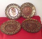 Antique Composer Copper Brass Decorative Wall Hanging Plates Made in England Vtg