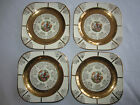 4 Square Plates ~ 22k Gold with Colonial Couple ~ 7.25 inches ~ No Makers Mark