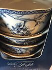 222 FIFTH ADELAIDE Blue White Set Of 4 Soup Cereal Bowls Toile Birds New !!!
