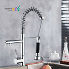 US Brushed Nickel Pull Down Spring Kitchen Faucets Deck Mounted Sink Mixer Tap