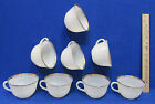 8 Fire King Ovenware Coffee Tea Cups White Swirl Pattern w/ Gold Trim