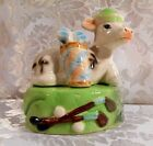 Vintage Japan? Cow with golf clubs 2 piece stackable set of Salt Pepper Shakers