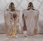 Vintage Art Deco Mid Century Mod Crystal Cut Glass Gold Leaf Salt Pepper Shakers