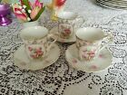 VintageTHREE CROWN CHINA GERMANY Pink Roses Tea Cups/Saucers w/Gold trim-Set 3