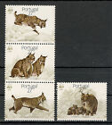 PORTUGAL-STRIP OF 3 STAMPS+STAMP-WWF-Worldwide Conservation, Iberian lynx-1988.