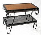 VTG BLACK WROUGHT IRON WOOD TOP END ACCENT TABLE GARDEN PATIO DECK MID CENTURY