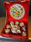 Mini Hand Painted 9 PC Rose Canton Style Boxed  Tray+Teapot+6 1-2 Oz Shot Cups