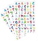 4 Sheets ABC Alphabet Colorful BLOCK Funky Style Letters Scrapbook Stickers