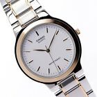 Casio Mens MTP1131G-7A Two-Tone Gold Stainless Steel Dress Watch White Dial NEW
