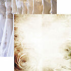 Reminisce WEDDING LACE 12x12 Dbl Sided 2pc Scrapbooking Paper ROSES GOWN RINGS