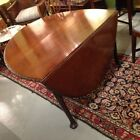 18c English Solid Mahogany QueenAnn Oval DropLeaf Table Carved Molded Edge c1760