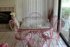 WOODARD Wrought Iron CHANTILLY ROSE 7 pc dining set glass top table 6 chairs