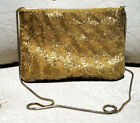 Vintage La Regale Evening Bag Purse - Gold Metallic Sequin Bead Design
