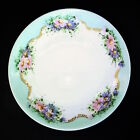 ANTIQUE HAND PAINTED PLATE CT GERMANY ALTWASSER SILESIA FLOWERS GOLD BEADED 2OF2