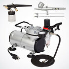 PRO 02 03 05mm Fine Detail Dual Action Airbrush Kit Tank Air Compressor Hobby